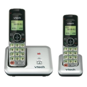VTech CS6419-2 DECT 6.0 Cordless Phone, Silver/Black, 2 Handsets